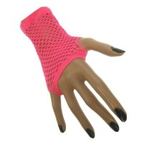 Nethandschoenen vingerloos kort fluor pink