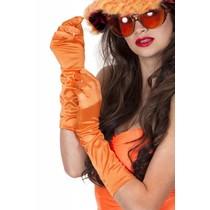 Gala handschoenen satijn oranje 40 cm