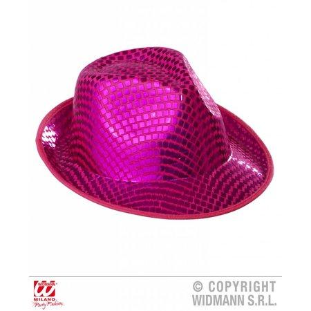 fedora hoed vierkante pailletten rose