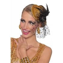 Minihoedje glitter goud Daisy
