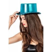 Hoge hoed lamee met paillettenband blauw