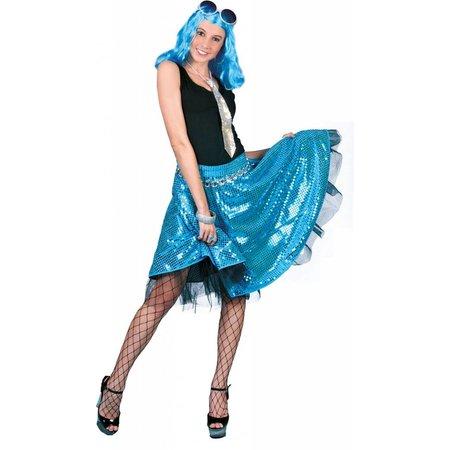Disco rok glitter blauw