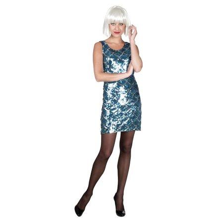 Pailletten jurk blauw met zilver accent
