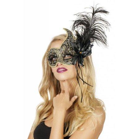 Venetiaanse masker met 2 punten zwart