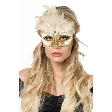 Venetiaanse masker grote veer creme