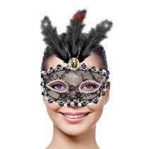 Venetiaans Masker Metallic zwart met LED