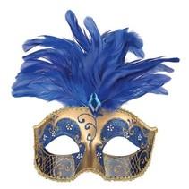 Oogmasker met veren blauw