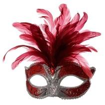 Venetiaanse masker grote veer rood