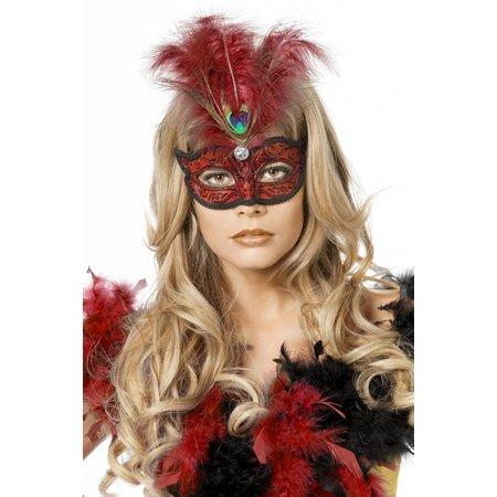 Venetiaanse masker met pauwenveer rood