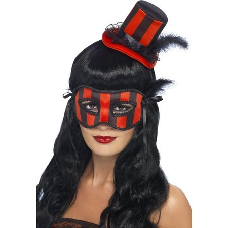 Burlesque oogmasker met hoedje rood/zwart