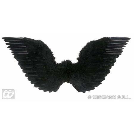 Gevederde vleugels zwart 86x31cm