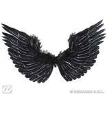 Vleugels zwart met zilver glitter 86x42cm