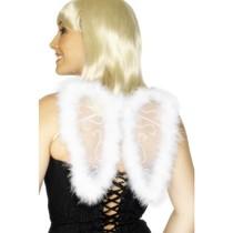 Mini vleugels glitter wit marabou