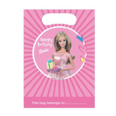 Barbie pink uitdeelzakjes - 6 stuks