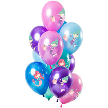 Metallic Ballonnen Set Zeemeermin Premium - 12 Stuks