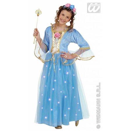 Blauwe prinses kostuum kind fiberoptisch