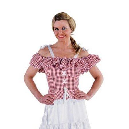 Carmen blouse Tirol rood/wit