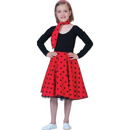 Rock and Roll rok met sjaaltje kind rood/zwart