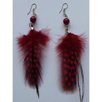 Oorbellen veer rood/zwart