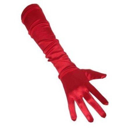 Handschoenen satijn rood extra lang