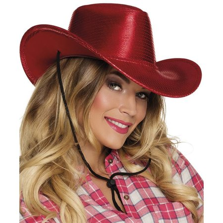 Cowboy glamour pailletten hoed rood