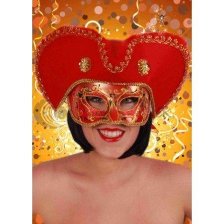 Oogmasker heren venetie rood met hoed