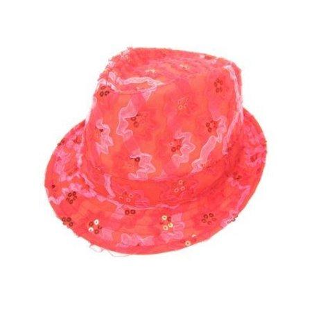 Gangsterhoedje ruche + pailletten rood