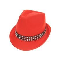 Kojak hoed rood met strass band