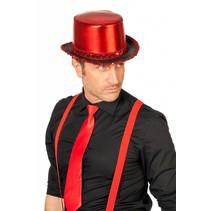 Hoge hoed lamee met paillettenband rood