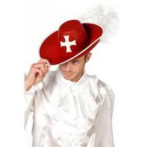 Musketiers hoed rood