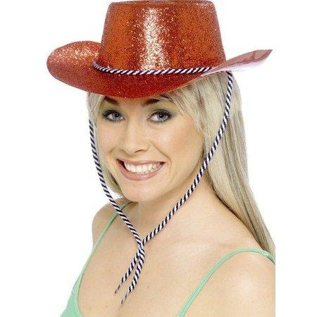 Cowboy glitter hoed plastic rood