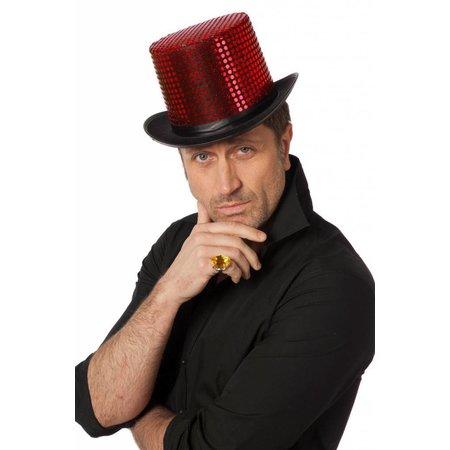 Hoge hoed pailletten stof rood