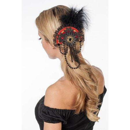 Haarclip met kralen rood