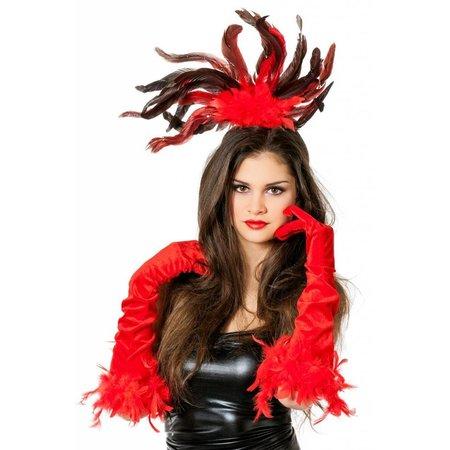 Haarband met veren rood