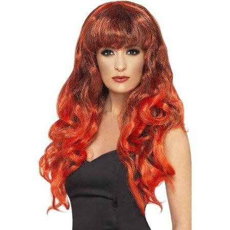 Pruik Siren lang rood haar