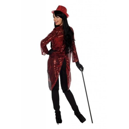 Pailletten frack jas rood vrouw