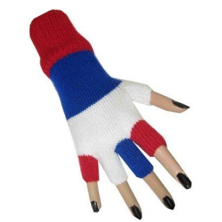 Vingerloze handschoenen rood/wit/blauw