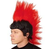 Pruik Mohawk rood