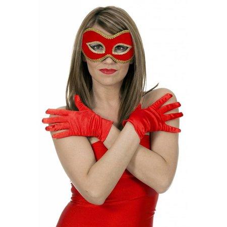 Gala handschoenen satijn rood 20cm