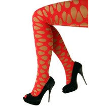 Panty grote gaten rood