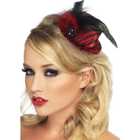 Mini hoedje Burlesque rood/zwart