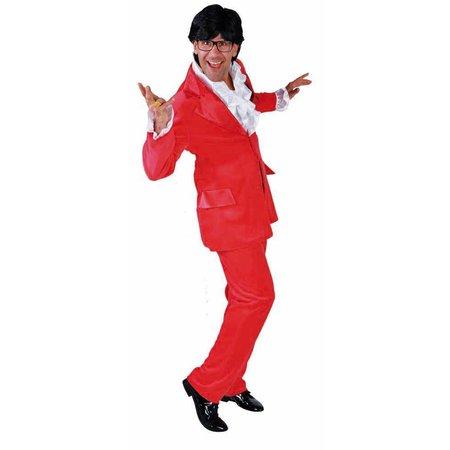 Kostuum rood velours stretch