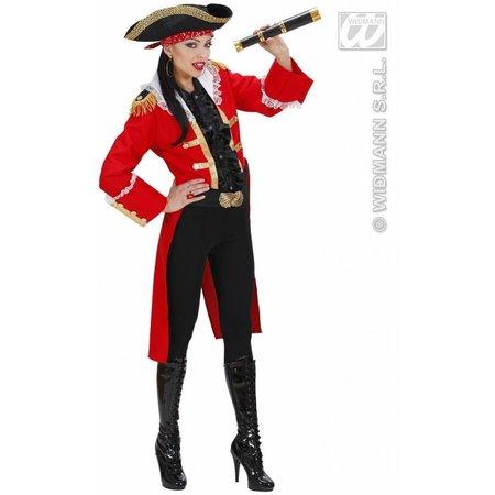 Piratenkapitein vrouw rood