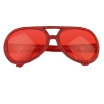 Bril Disco glitter rood
