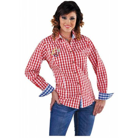 Tiroler Edelweis blouse vrouw rood/wit