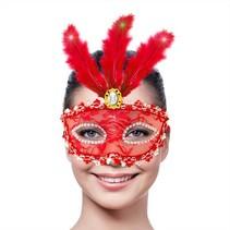 Venetiaans Masker Metallic Rood met LED