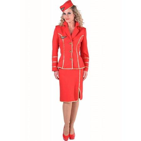 Stewardess kostuum 50's classic rood