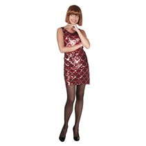 Pailletten jurkje rood met zilver accent