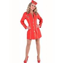 Stewardess kostuum vrouw rood