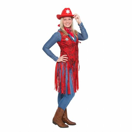Cowboy Toppers gilet met franjes rood